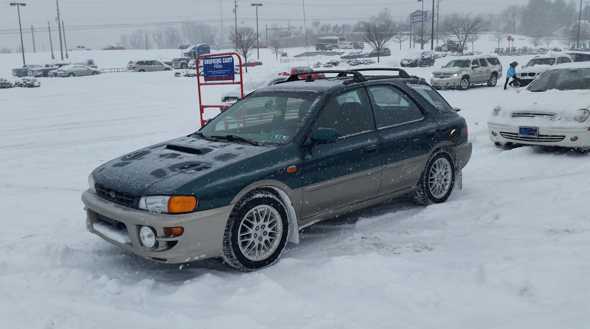 "Brensinger's daily driver is a 2000 Impreza Outback Sport with a manual  transmission and 195,000 miles on the clock. ""We put in a rear disc-brake  conversion ..."
