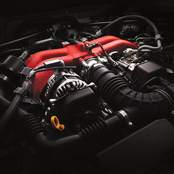 A 2.0-liter SUBARU BOXER engine raises horsepower from 200 to 205 in the Subaru BRZ.