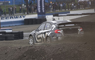 Subaru Rally Team USA driver Chris Atkinson in Red Bull Global Rallycross action.