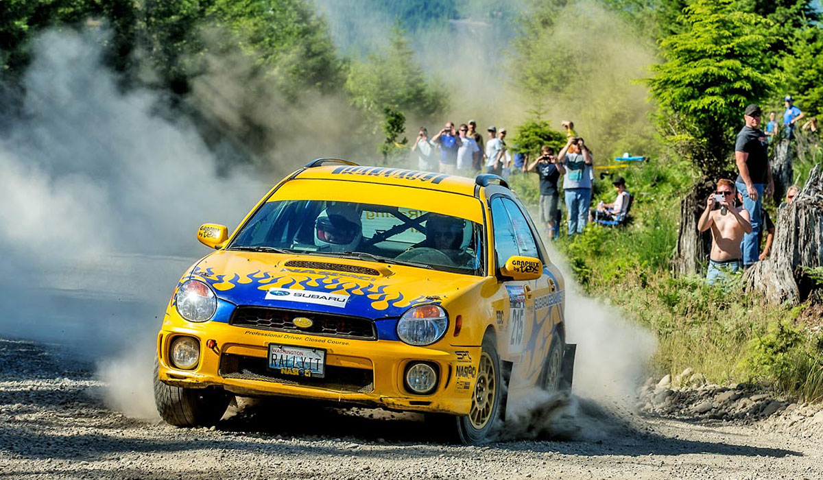 The 2002 WRX Rally Wagon is full rally specification, with a roll cage, rally suspension, differential swap, seats, lights and a full decal package.
