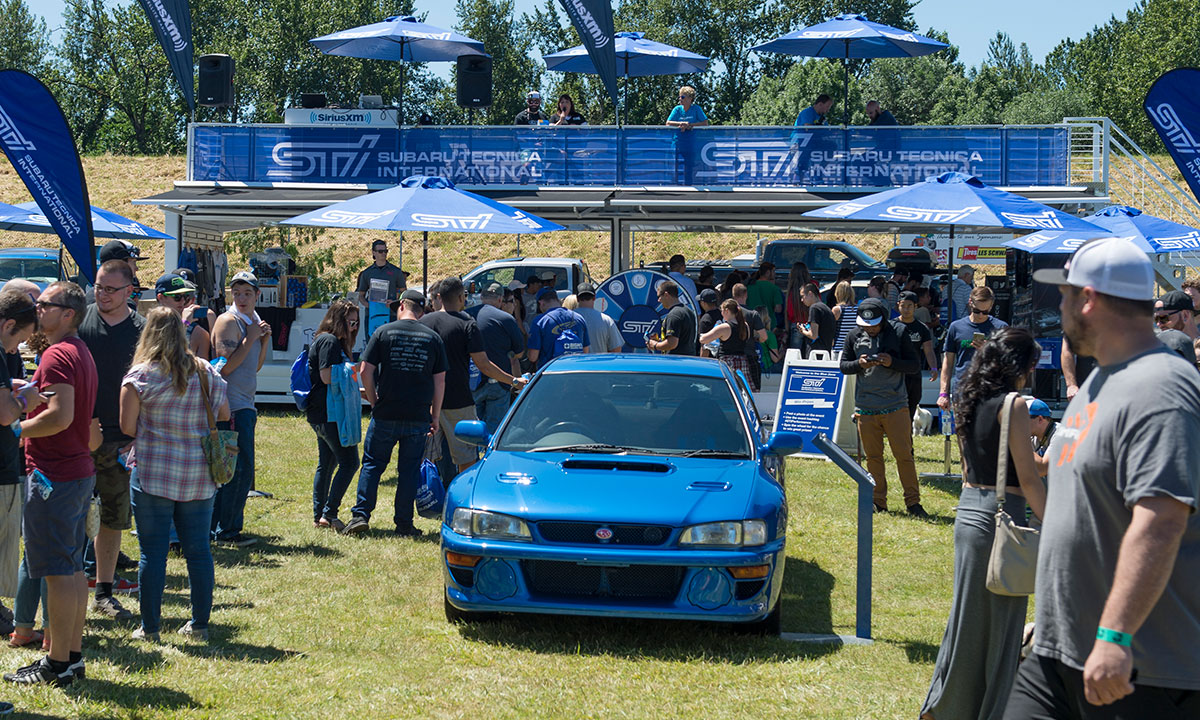 Subaru of America brought a collection of heritage vehicles that included a 22B, Colin McRae rally car and more. Photo: Randy Montgomery