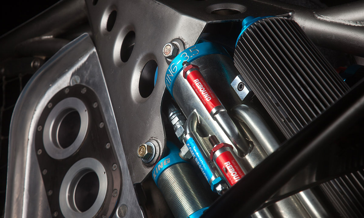 Massive 3.5-inch King air shocks are hand-assembled and help the buggy rebound from the punishment it sees off-road.