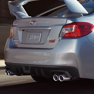 Rear view of the WRX STI exhaust system.
