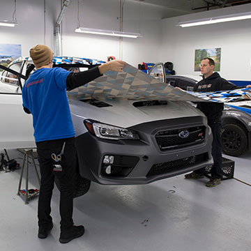 Laying the graphics on a freshly prepped SRTUSA car