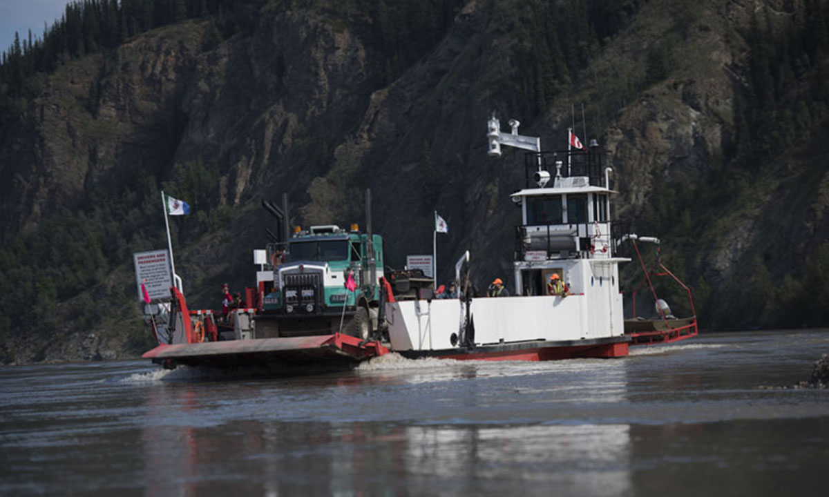 Drivers can cross the Yukon River in the winter via an ice bridge, but in the summer, it's up to the schedule of the George Black Ferry, which runs 24 hours a day, seven days a week, except for Friday mornings, when it's down for maintenance between 5 a.m. and 7 a.m.