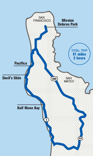 Interested in taking the Bay trip in your Subaru? Here's the route.