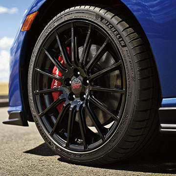 The 18-inch wheels are a lightweight STI design mounted to 215/40/R18 Michelin® Pilot® Sport tires.