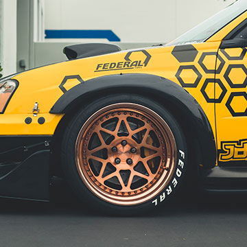 Powder-coated wheels in a rich copper with a matching polished copper lip.