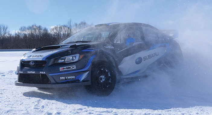 <p>A rally stage with Higgins and Drew onboard the #75 WRX STI.</p>